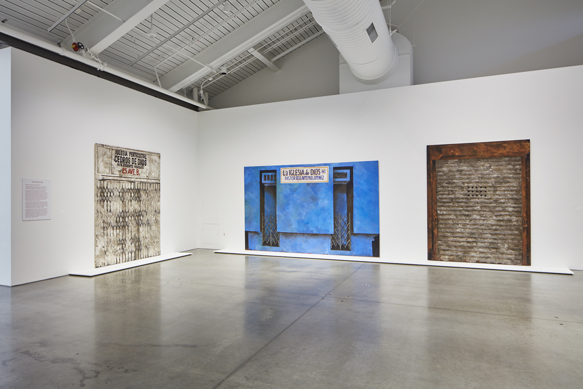 Left: 'Iglesia Pentecostal,' 1986; Middle: 'La Iglesia de Dios,' 1986; Right: 'Untitled (Silver Storefront),' 1985.