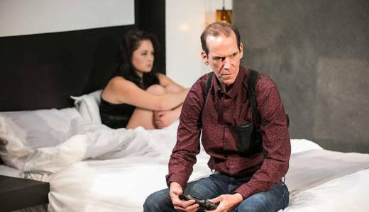 Ian (Robert Parsons) and Cate (Adrienne Walters) disconnect and connect in horrible ways in 'Blasted' by Sarah Kane.