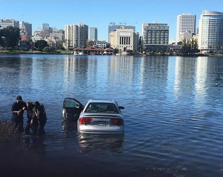 A car in Lake Merritt.