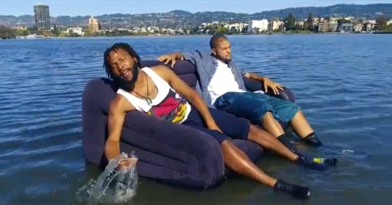 An inflatable couch in Lake Merritt.