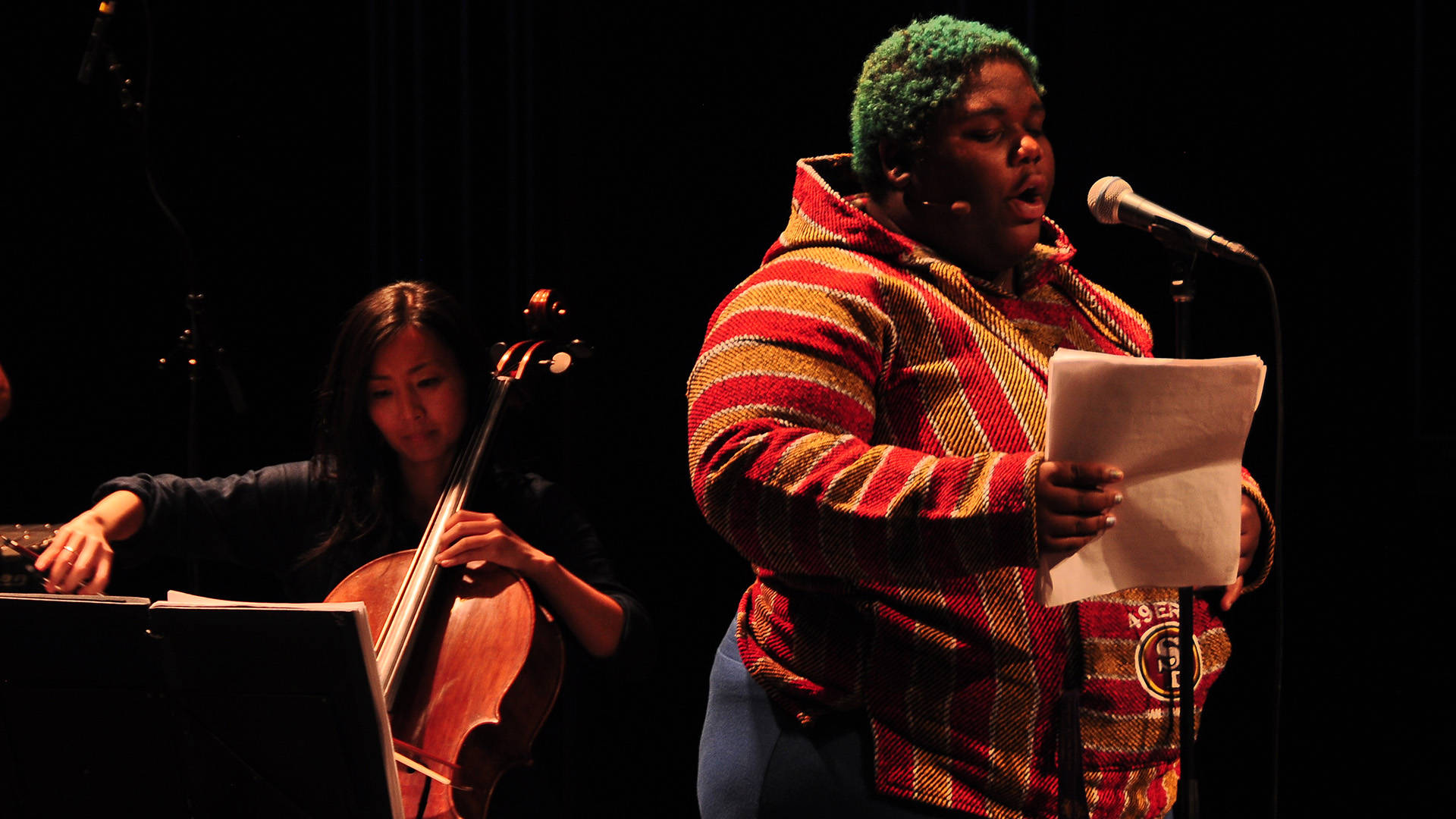 Tassiana Willis of Youth Speaks (R) and Kronos Quartet's Sunny Yang.  Christian Jessen