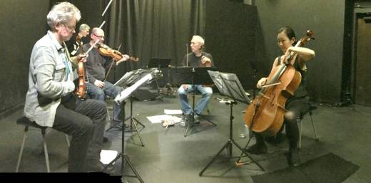 The Kronos Quartet works with the Living Earth Show and members of Youth Speaks in a rehearsal of 'Echoes'