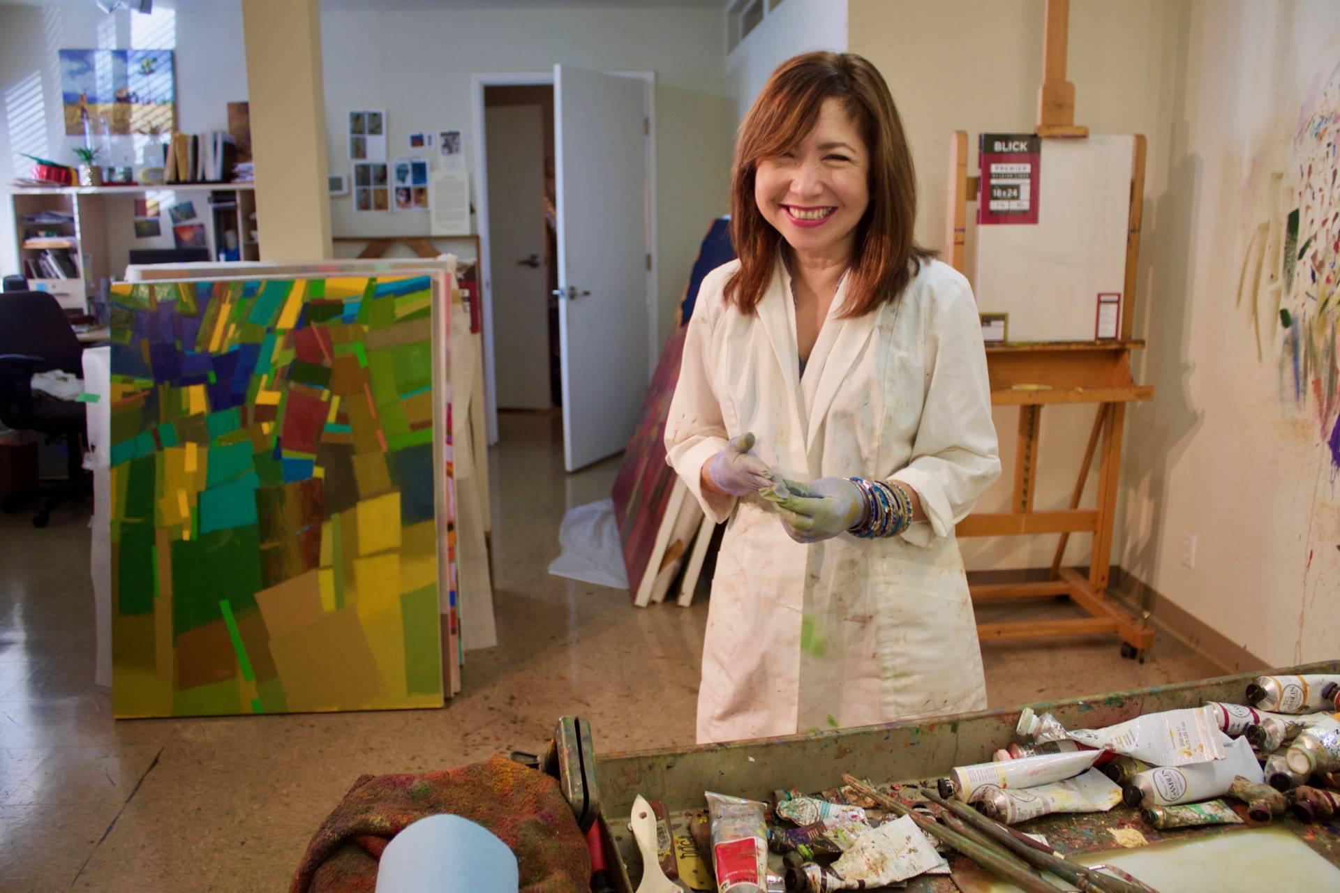 Janine Barrera-Castillo works in her studio in Vallejo, California on Oct. 6, 2017. Audrey Garces/KQED