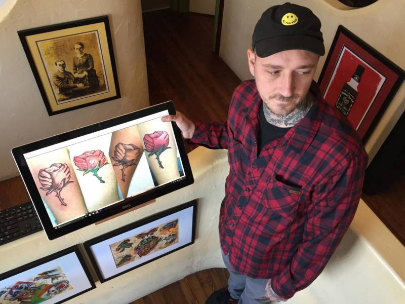 Santa Rosa tattoo artist Jared Powell has inked Butchart's design on 10 people and counting for fire relief.