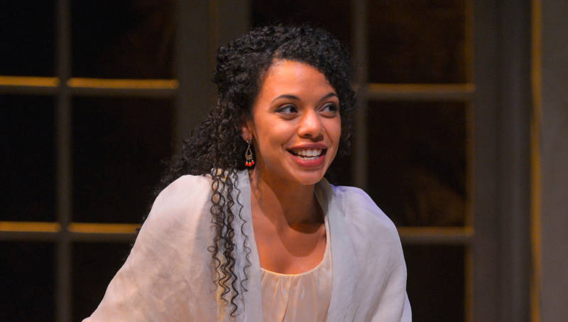 Sally Hemings (Tara Pacheco) tries to imagine everything that is happening to her in 'Thomas and Sally' by Thomas Bradshaw.