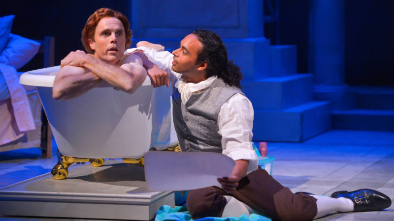 Thomas Jefferson (Mark Anderson Phillips) takes a bath while Robert Hemings (Cameron Matthews) must listen to him muse about life and his feelings in 'Thomas and Sally' by Thomas Bradshaw.