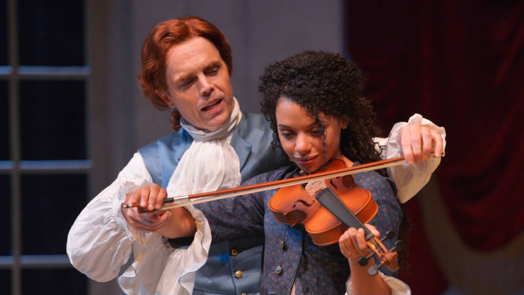 Thomas Jefferson (Mark Anderson Phillips) and Sally Hemings (Tara Pacheco) play music and more in 'Thomas and Sally' by Thomas Bradshaw.