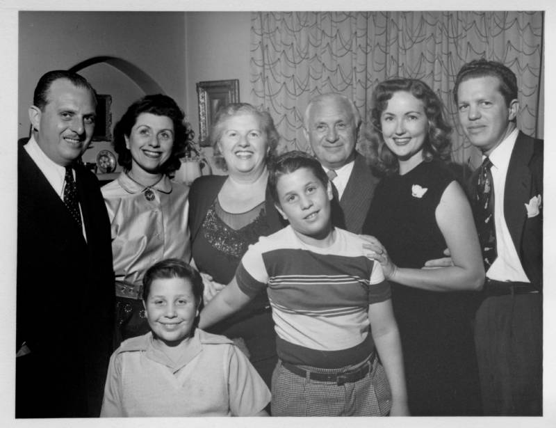 The Mills Family, left to right: Richard Mills, Beatrice Myrow, Fred Myrow, Bessie Mills, Jeff Myrow, Irving Mills, Anne Mills, Paul Mills