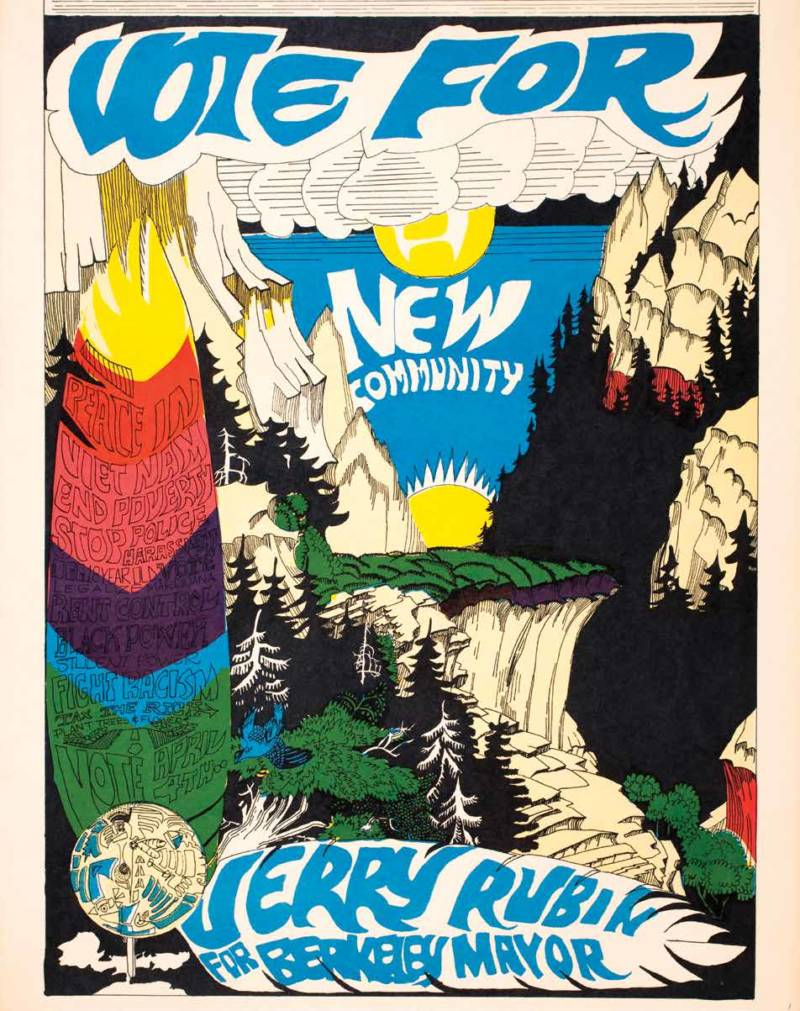 A campaign poster from Jerry Rubin's efforts to become the mayor of Berkeley