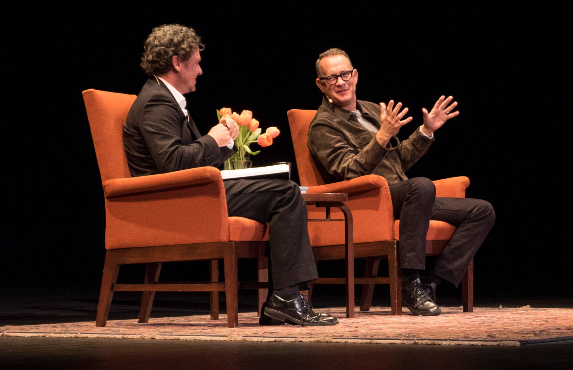 Dave Eggers and Tom Hanks at City Arts & Lectures, Oct. 24, 2017. JMBW Photo