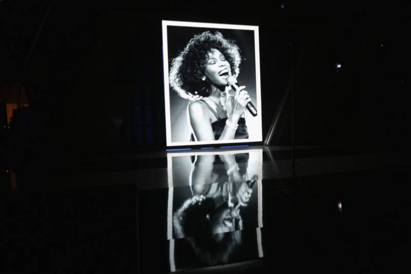 A view of Whitney Houston on the video screen onstage during the 2012 BET Awards on July 1, 2012 in Los Angeles.