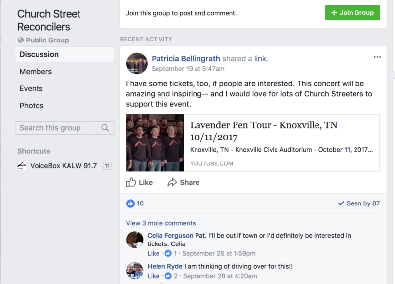 Part of the Church Street Reconcilers Facebook page. The group was started to engage church members in discussions around sexuality.
