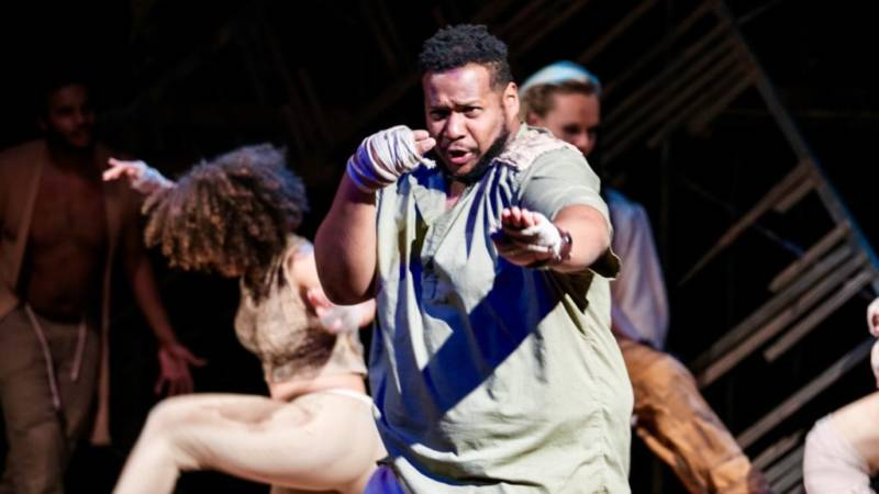 Squealer (Marlon Richardson) practices the fine art of perverting revolutionary ideals for personal gain in 'The Farm' by Jon Tracy.