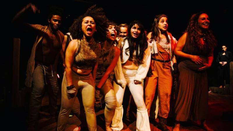 Napoleon (Tierra Allen), front left, leads the revolution in 'The Farm' by Jon Tracy.