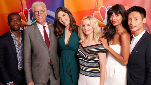 NBC's 'The Good Place' cast during the Aug. 2, 2016. press appearance (left to right): William Jackson Harper, Ted Danson, D'Arcy Carden, Kristen Bell, Jameela Jamil, Manny Jacinto.