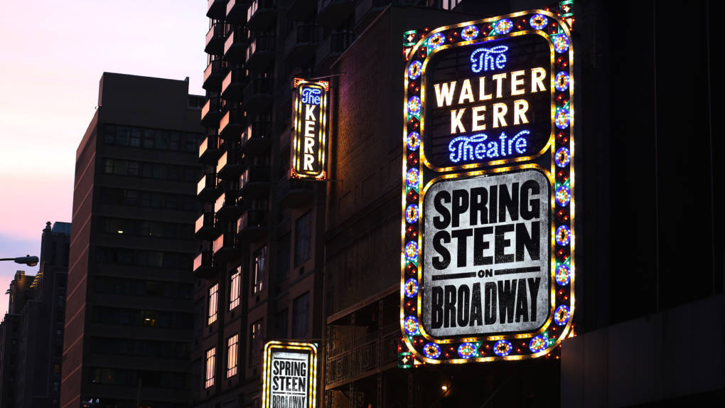 The Bruce Springsteen Marquee for Springsteen on Broadway, which sold out immediately and brought in impressive first-week receipts.