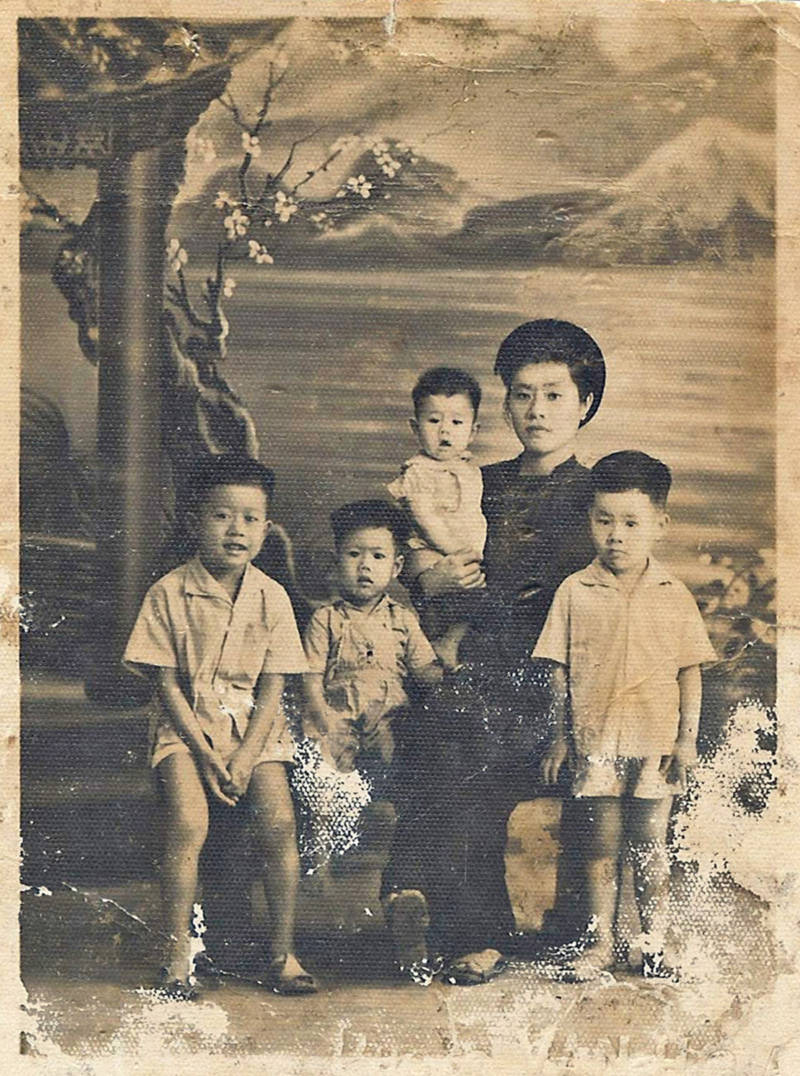 Nguyen's grandmother with her children, not too long after they moved from the north to the south in 1954