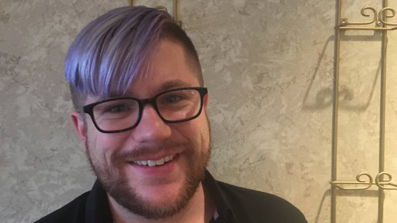 "SF Gay Mens Chorus staffer Peter Zimmerman died his hair lavender in honor of the ""Lavender Pen Tour."""
