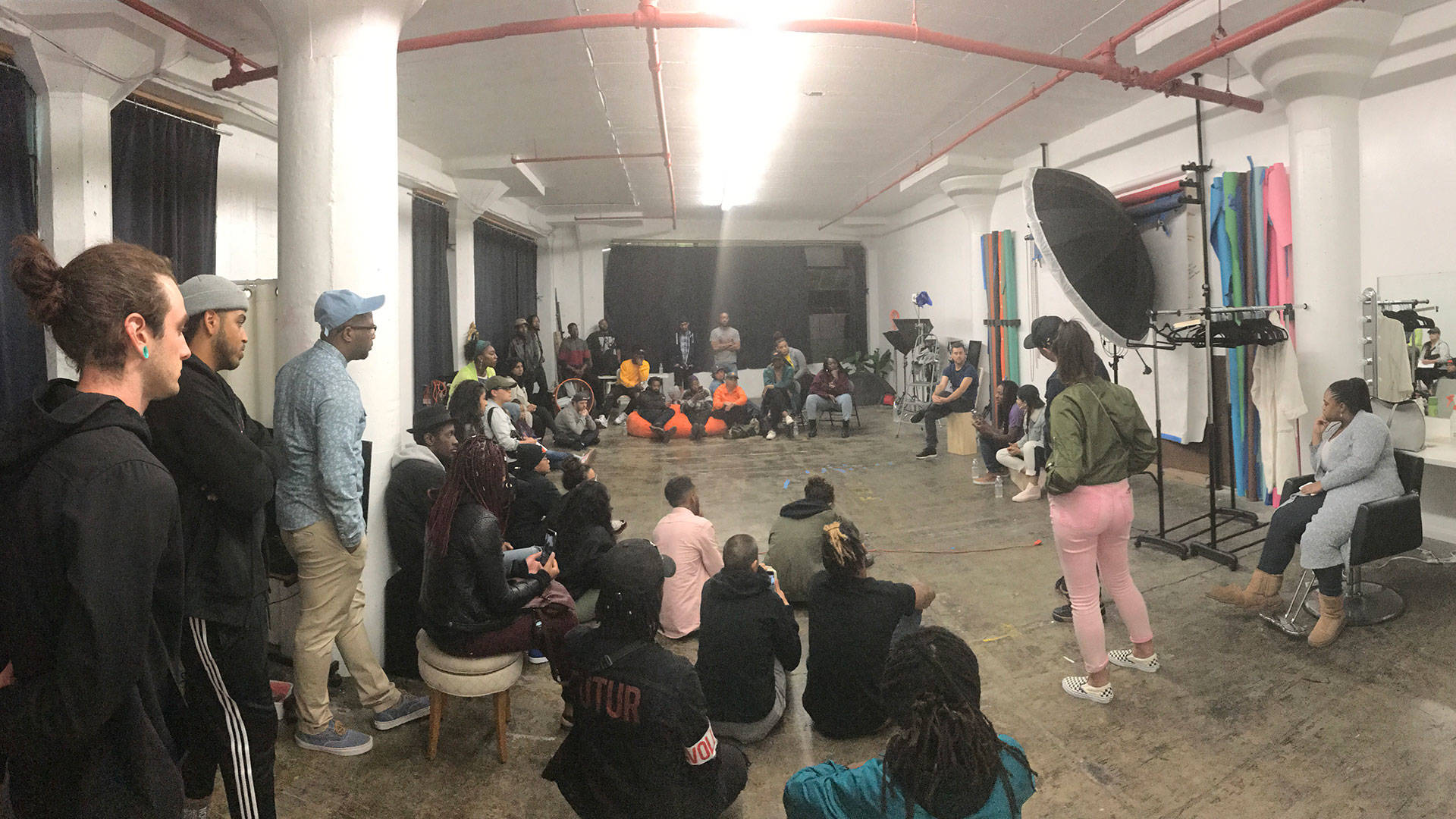 Attendees at a conversation in East Oakland about rape culture and abusive relationships. Pendarvis Harshaw