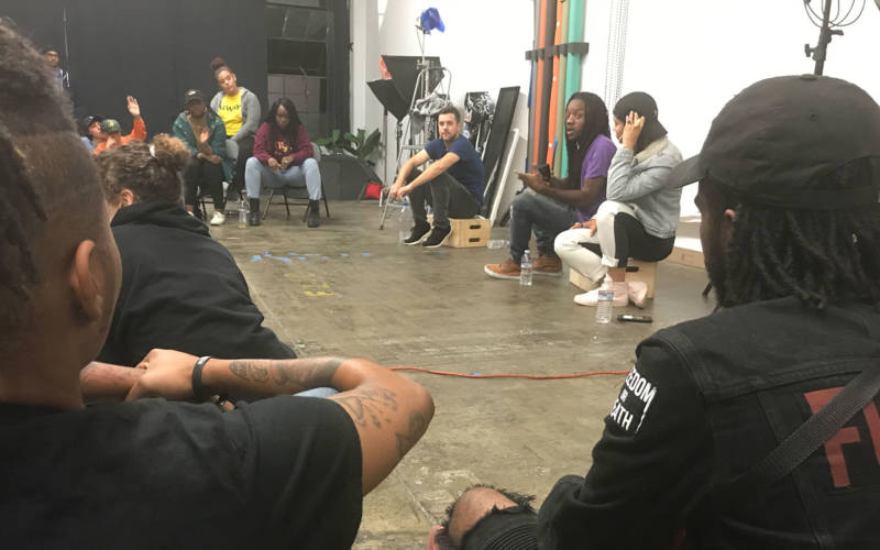 Attendees at a conversation in East Oakland about rape culture and abusive relationships.