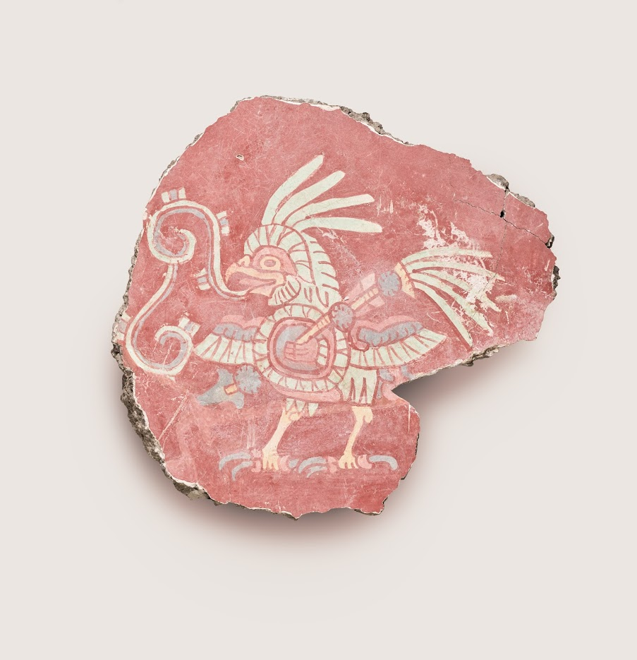 Mural fragment (bird with shield and spear), 500–550.