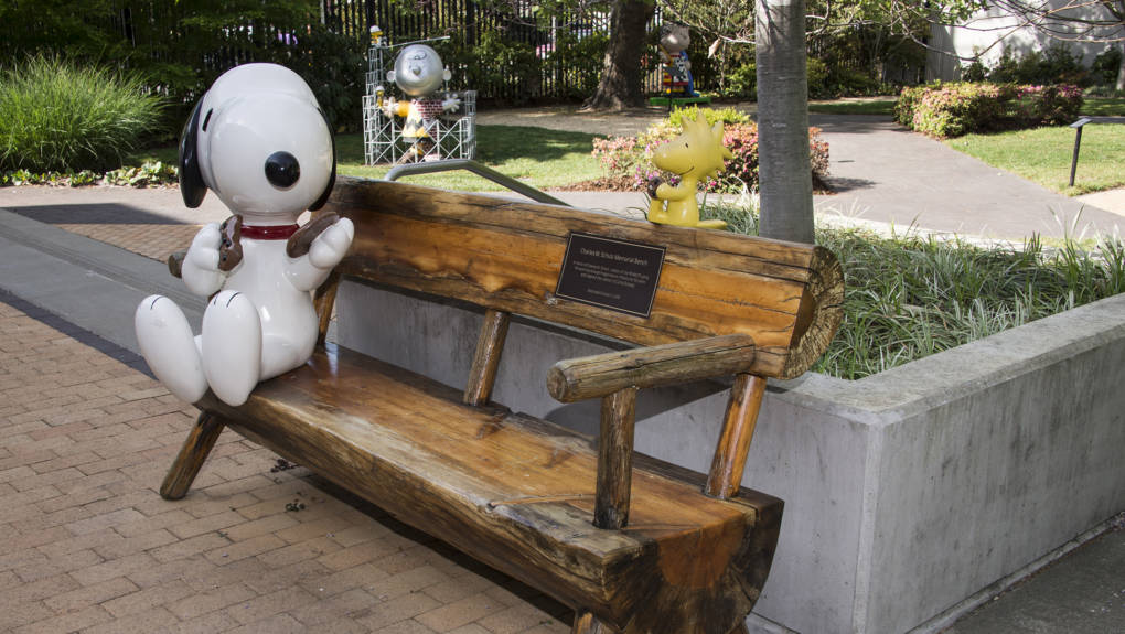 The courtyard at the Charles M Schulz Museum in Santa Rosa.