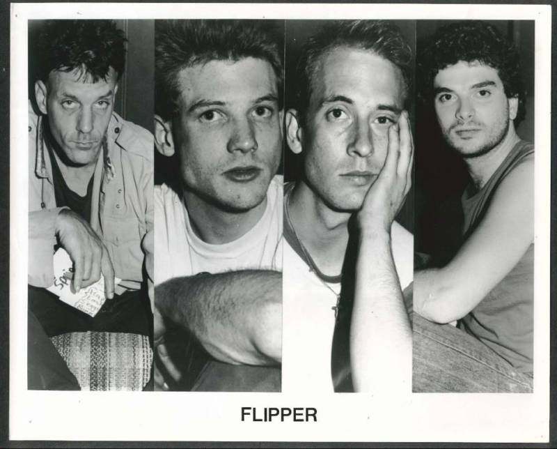 "Old promotional shot of Flipper. L-R: Falconi, Bruce ""Loose"" Calderwood, Will Shatter, Steve DePace"
