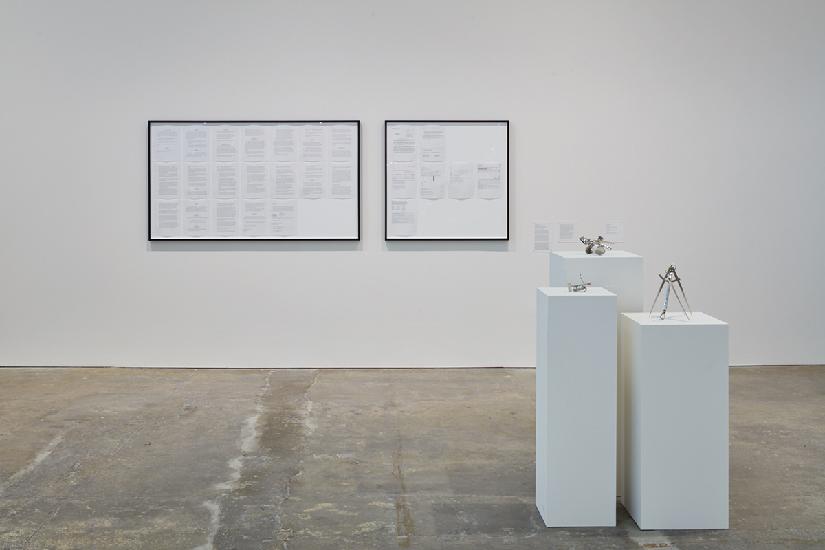 Installation view of 'Mechanisms,' with work by Cameron Rowland and Zarouhie Abdalian.