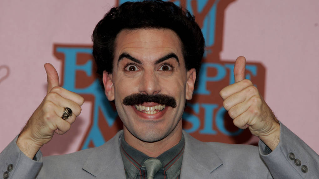 """Sacha Baron Cohen as """"Borat"""" poses in the Awards Room at the 12th annual MTV Europe Music Awards 2005 at the Atlantic Pavilion on November 3, 2005 in Lisbon, Portugal."""