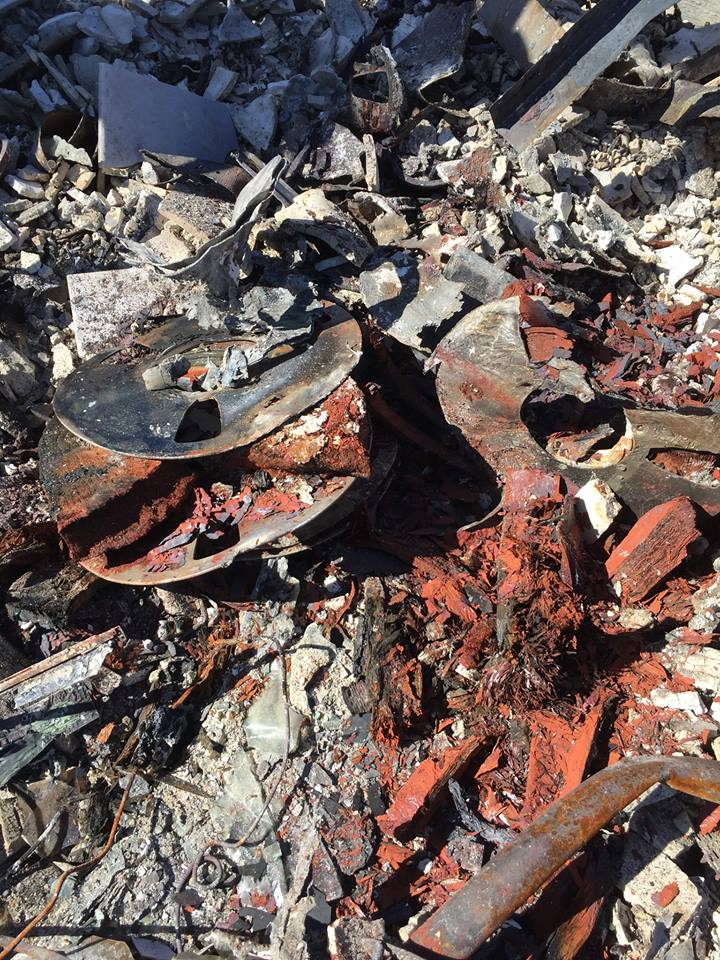 "Reel-to-reel tapes destroyed in the fire. ""Too long in the convection oven,"" Sudduth remarked."