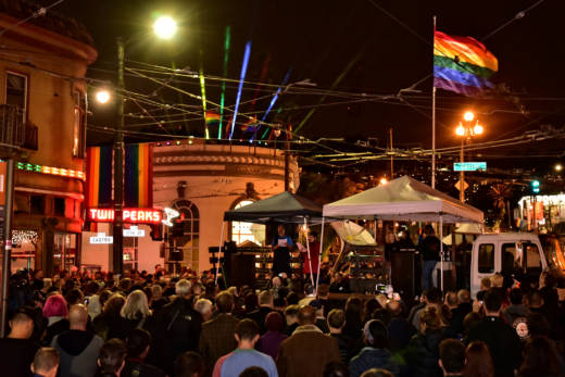 The crowd at the ceremony unveiling the two new light installations in the Castro