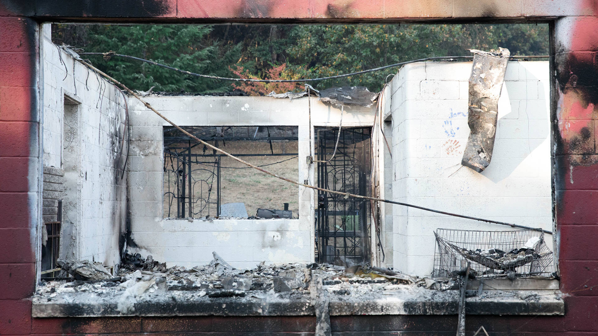 A view through the gutted staff house at Napa County's Enchanted Hills Camp.