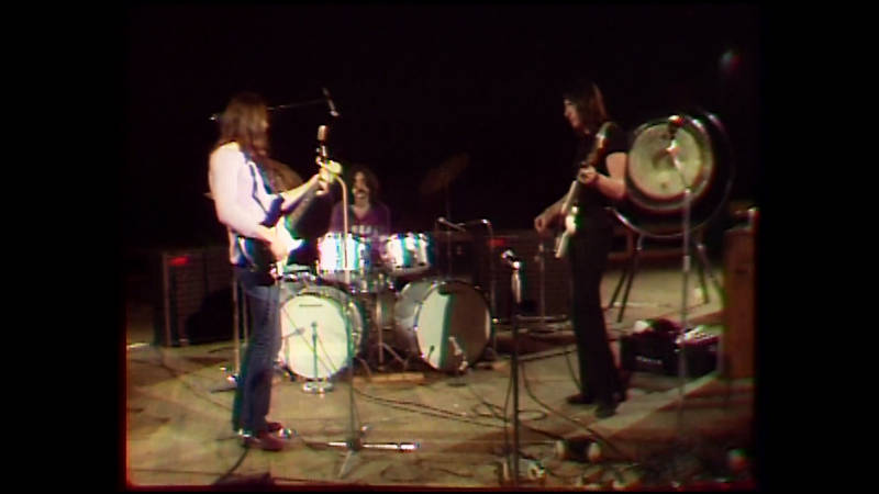 Pink Floyd playing for KQED in 1970. L-R: David Gilmour, Nick Mason and Roger Waters