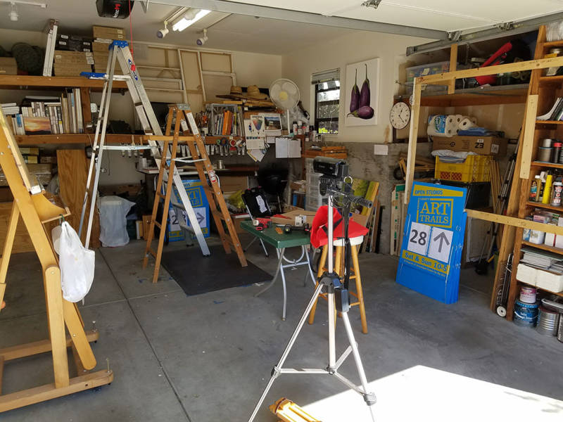 Artist Bill Gittins' garage, which he'd been preparing for the annual open-studios tour ArtTrails when the fires hit.