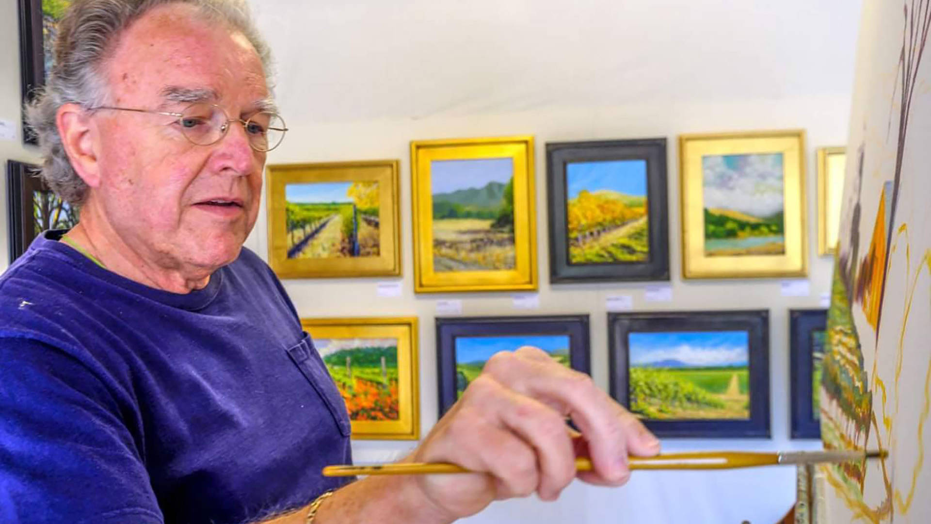 Bill Gittins had been gearing up for the annual open-studios tour ArtTrails when he lost his home and all his paintings in the fire. Jeff Kan Lee