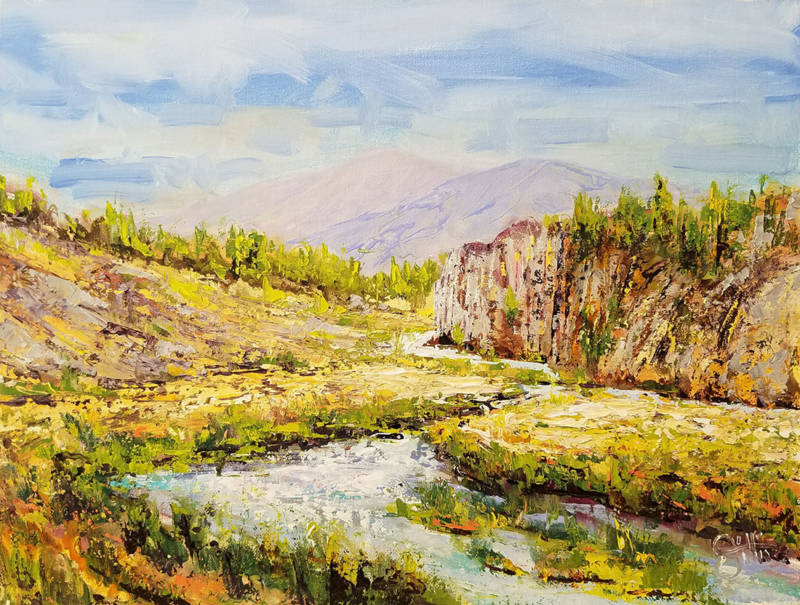One of Bill Gittins' paintings lost in the fire, of Hot Creek on Hot Creek Ranch, southeast of Mammoth Mountain in the Eastern Sierra.
