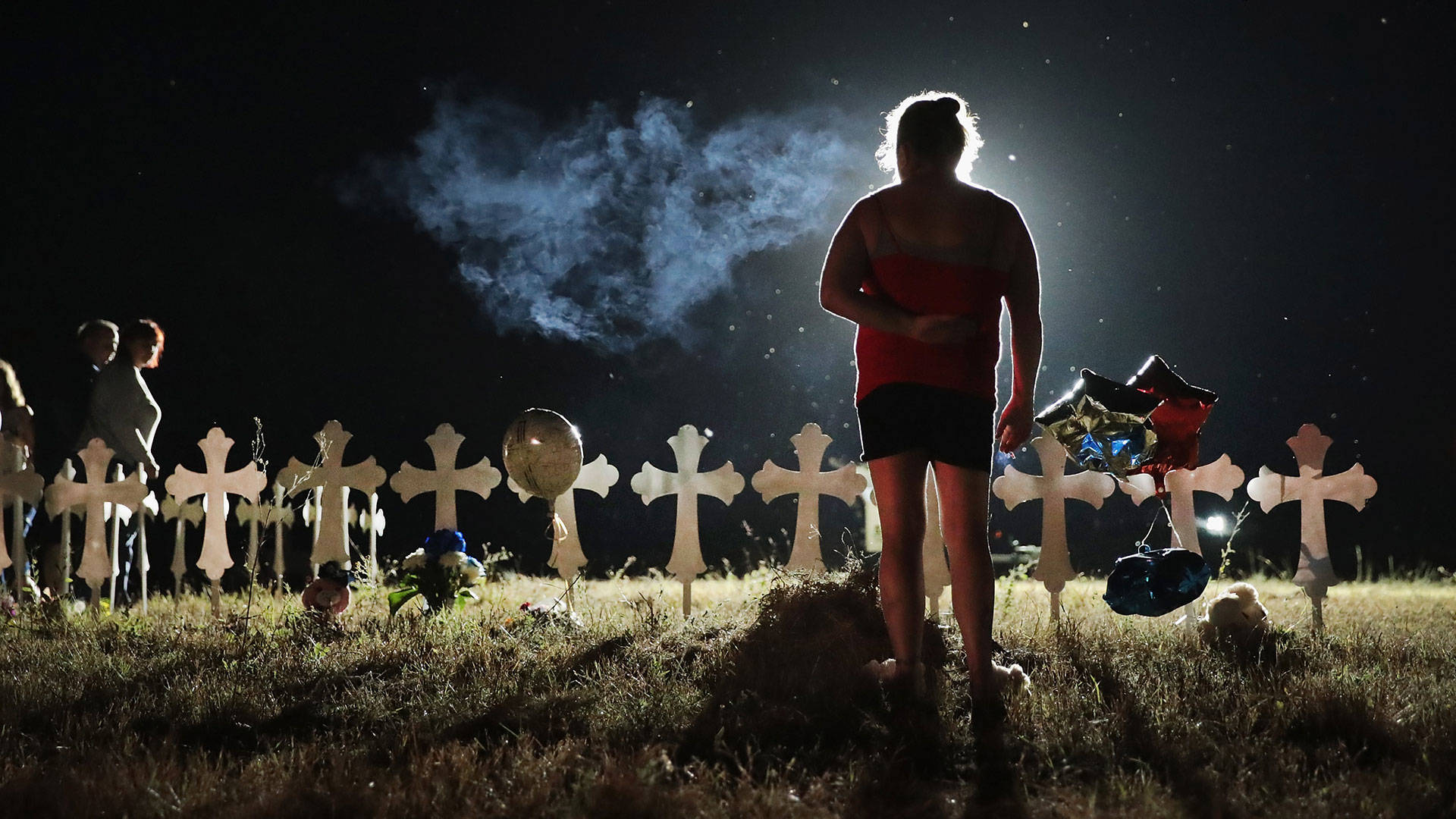 Twenty-six crosses stand in a field on the edge of town to honor the 26 victims killed at the First Baptist Church of Sutherland Springs on Nov. 6, 2017 in Sutherland Springs, Texas.  Scott Olson/Getty Images