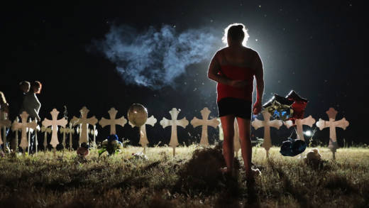 Twenty-six crosses stand in a field on the edge of town to honor the 26 victims killed at the First Baptist Church of Sutherland Springs on Nov. 6, 2017 in Sutherland Springs, Texas.