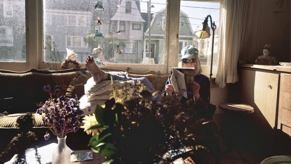 Joan von Briesen lounging in her Cole Valley home.