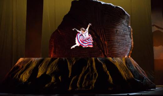 Lorena Feijoo dances on a reconstruction of the Discovery Tree stump in the opera 'Girls of the Golden West.'