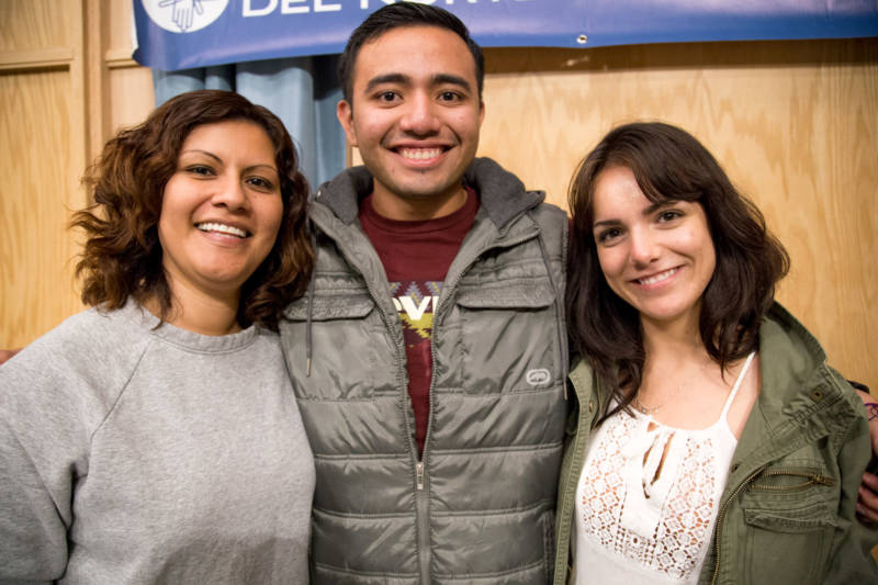 (Left to right) Graton Day Labor Center program director Emilia Carbajal attends the North Bay Organizing Project Issues Assembly in Santa Rosa with program organizers Luis Avila Cruz and Jazmin Gudino Mendoza on Sunday, Nov. 5.