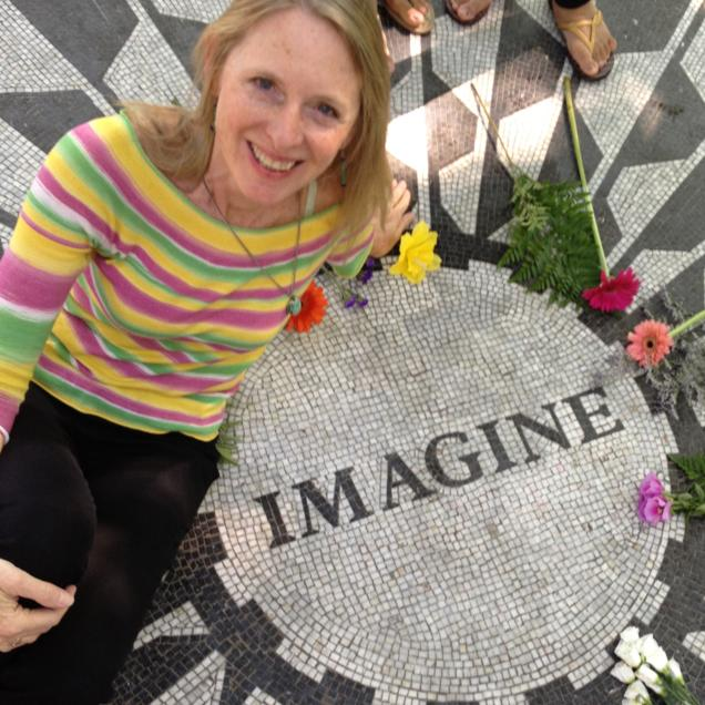 Robin Pressman at John Lennon's 'Strawberry Fields' memorial site in New York.