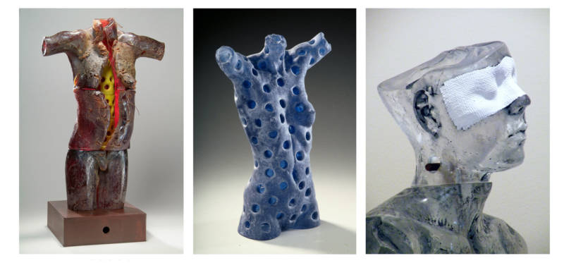 Clifford Rainey, War Boy (2004); Gaia (from 'Cycles of Life' Series, Torso No. 6, 2001); and Indigo No. 1 detail (2012).