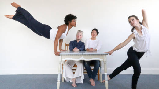 Julie Crothers, Clarissa Dyas, Sue Li Jue, Joan Lazarus, Jeni Leary, with Rose Huey and Sarah Bush perform in the world premiere of Homeward a new dance by Sarah Bush