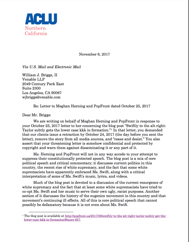 The letter sent by the ACLU legal team representing Meghan Herning to Taylor Swift's lawyer, William J Briggs II.