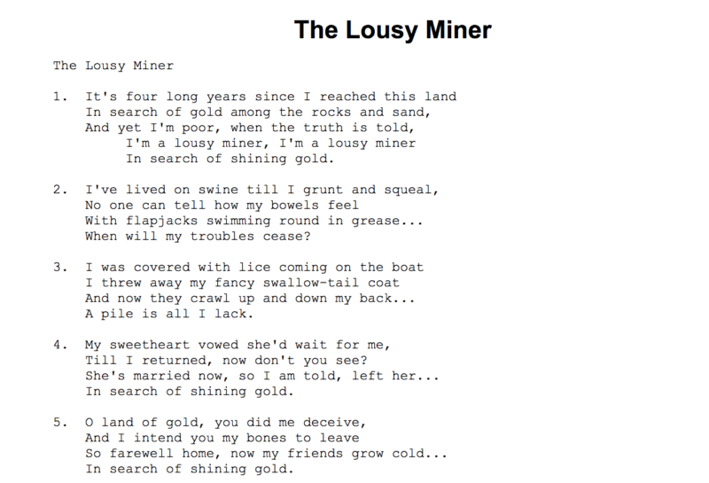 Lyrics for the 1861 mining song, 'The Lousy Miner' from 'Put's Golden Songster.'