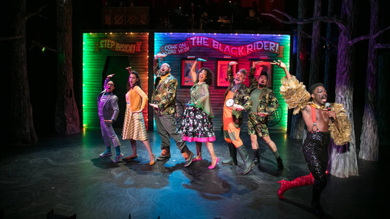(L to R) Wilhelm (Grace Ng, Kätchen (Noelle Viñas), Bertram (Steven Hess), Anne (Elizabeth Carter), Old Uncle (Kevin Clarke), Robert (El Beh), and Peg Leg (Rotimi Agbabiaka) dance and sing their way to hell.