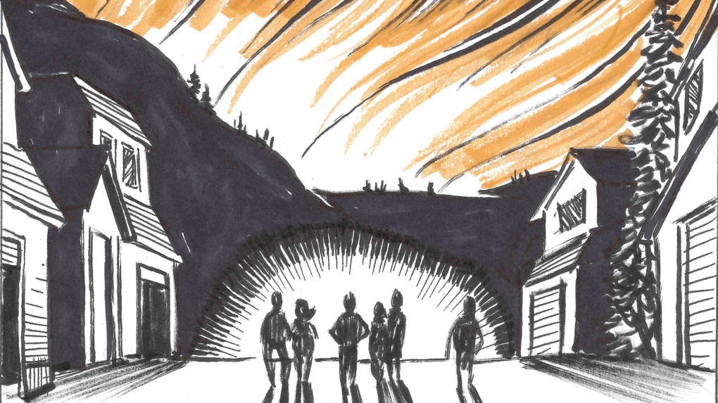 An illustration of comic book writer Brian Fies' neighborhood before it was ravaged in the Northern California fires.