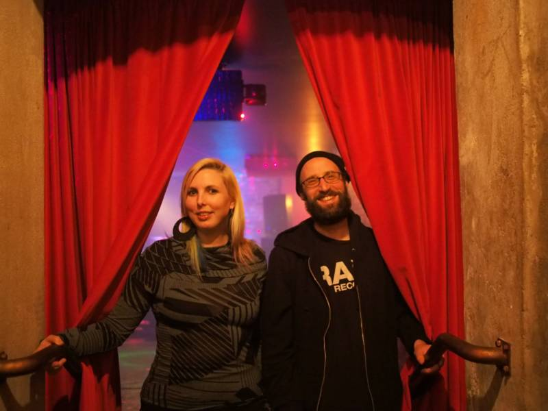 Chelsea Faith Dolan (left) and Ben Winans at a Run the Length of Your Wildness party.