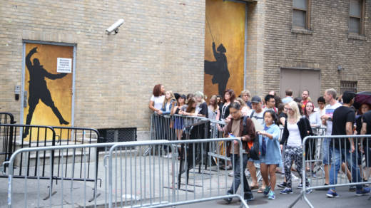 Crowds gather outside for the final performance of Lin-Manuel Miranda in Hamilton on July 9, 2016.